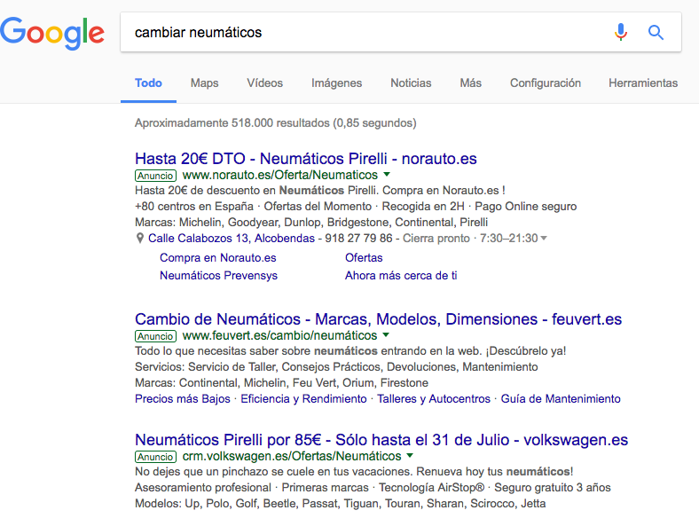 Anuncios de Google Adwords en la red de búsqueda