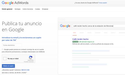 Consigue el cupón de 75€ de Google Adwords (2017)