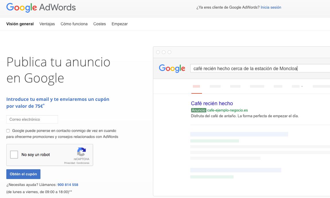 Promoción Google Adwords 2018